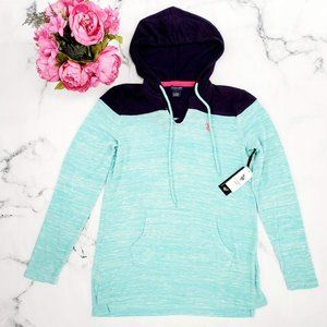 US Polo Assn, Knit Pullover Hoodie, Aqua & Navy, L
